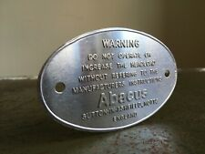 Vintage Small Embossed ABACUS Metal Tin Warning Sign Industrial Salvage Sample