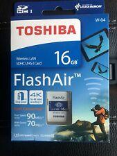 Toshiba 16GB FlashAir SDHC SD Wireless Wifi Card Class 10 U3 4K Retail W-04.