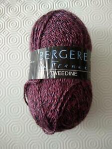 15  pelotes de laine bergère de france, tweedine cassis