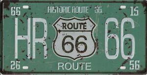 Placca Metallo Vintage USA Route 66 Historic - 30 X 15 CM