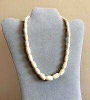 "Vintage Bovine Bone Necklace Graduated Smooth Beads Bone Screw Closure 18.5"" J19"