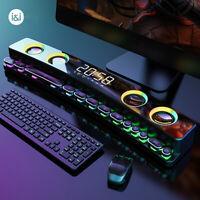 Wireless PC bluetooth 3D Surround Gaming Speaker Soundbar Desktop Home Clock