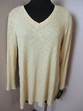Style & Co Retro Refresh Yellow Vneck Long Sleeve Top Size Large L New