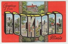 [36843] OLD LARGE LETTER POSTCARD GREETINGS from ROCKFORD, ILLINOIS