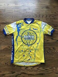 "Mens LOUIS GARNEAU Full Zip Cycling ""Bike Vermont"" Jersey Size M/L 42"" Chest"