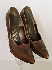 Paramount Studios Vintage 50s Brown Shoes Henri Flatow Nyc Heels Size 5 Leather
