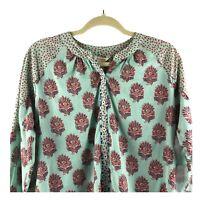 Sundance Catalog Women's M Button up blouse shirt lightweight green floral