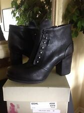 A.S.98 Black Embossed Leather High Heel Ankle Boot EU41/US10M MSRP $325