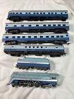 HO Rivarossi Santa Fe streamlined Hudson steam locomotive; Blue Goose 6 Pieces