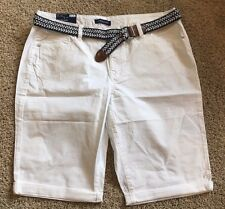NWT Women's White Bandolino Riley Belted Bermuda Shorts Size 12