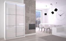 WARDROBE with FULL LACOBEL GLASS FRONT two sliding doors  MAVI120 LED INCLUDED