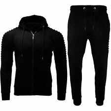 Mens Fleece Ribbed SKINNY Trouser Hooded Hoodies Biker Bottoms Zip up Tracksuit Large Black - Exercise Work out ZIPPER Drawstring Pocket