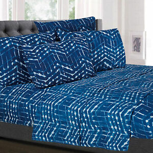Monroe Blue Zig Zag Printed Geometric 6-Piece 1500 Thread Count Sheet Set
