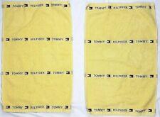 Vtg TOMMY HILFIGER 3 LOGO Yellow COTTON TOWELS SET Lot of 2 (2 Hand towels)16x26
