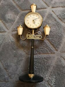 """Vintage Rhythm Moulin Rouge Lamp Post Wind Up Alarm Clock fully working 9""""  SEE!"""