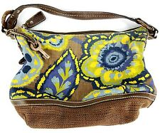 """FOSSIL """"Kristy II"""" Floral Tie Dye Canvas Leather Trim Tote Hobo Bag Purse"""
