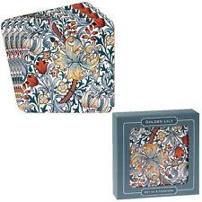 Set de 4 Lis Doré Fleurs Sous-Verre Thé Table Basse Tapis Floral de Luxe Cadeau