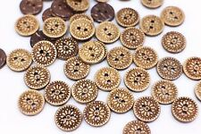 Flower Coconut Shell Buttons Floral Pattern Small Round DIY Two Holes 11mm 20pcs
