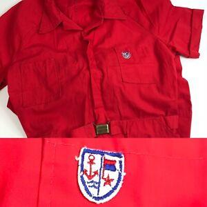 Vtg Red Workwear Coveralls Nautical Retro 60s 70's Short slv L fishing boating