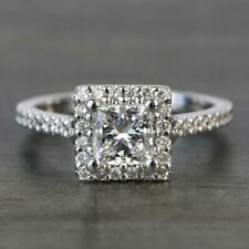 2 Carats Princess Cut Moissanite Halo Engagement Ring in 9k Solid White Gold