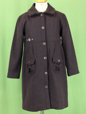 333 Sergent Major french boutique girl plum purple WOOL winter coat collar EUC 6