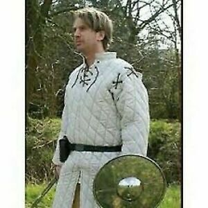 Theater Custome Sca Medieval Armour Thick Padded White Gambeson Play Movies