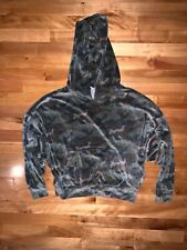 American Eagle Cozy Ever After Hoodie Velour Camo Green Sweatshirt Size XS