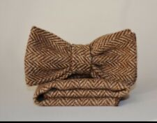 Brown Herringbone Irish Woven Tweed Bow Tie And Handkerchief Set