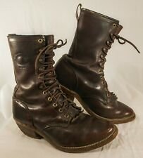 Chippewa Men Sz 9 EE Leather Lace-Up Logger Roper rider Boots Vibram Sole