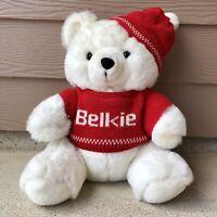 "Vintage 80s Belks BELKIE BEAR Christmas Teddy Plush ""White Red"" Sweater 15"""