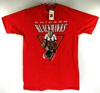 Vintage 1990 Chicago Blackhawks Starter Tee T Shirt Mens XL NHL Hockey Red New