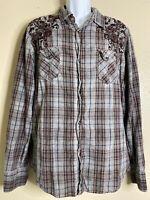 Pop Icon Men Size 3XL Plaid Western Shirt Pearl Snap Long Sleeve Rockabilly
