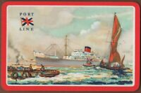 Playing Cards 1 Single Card Old PORT LINE Shipping Advertising Art NELSON Ship 2