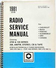 1981 RADIO SERVICE MANUAL CHEVROLET BUICK PONTIAC OLDSMOBILE GMC SCHEMA