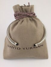 David Yurman Sterling Silver Black Onyx and Diamonds 5mm Cable Cuff Bracelet