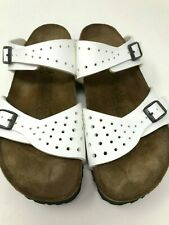 Birkenstock Sandals Birkis Size L9 M7 Women's White Perforated Buckle Sz 40N