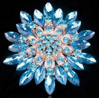 Vintage Women Rhinestone Crystal Flower Wedding Party Bouquet Brooch Pin Jewelry