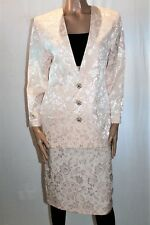 Geoff Bade Floral Peach Linen Skirt Suit Long Sleeve Jacket Size 10 BNWT #JA35