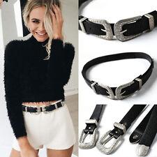 Popular Women Lady Vintage Metal Boho Leather Double Buckle Waist Belt Waistband
