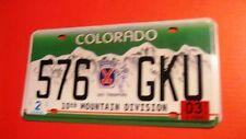 576 GJU 10TH MOUNTAIN DIVISION COLORADO SKI TROOPER PLATE 576-GKU
