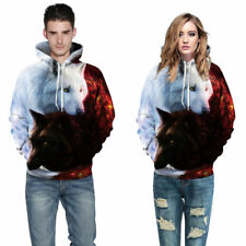 Unisex Couple 3D Wolf Print Hoodie Long Sleeve Sweater Pullover Jacket Coat Tops