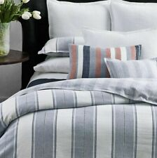 RALPH LAUREN OAKVIEW KING SHAM  BLUE WHITE GRAY STRIPE LINEN BLEND $130