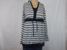 Long sleeved gray and navy striped light maternity hoodie Motherhood sz M