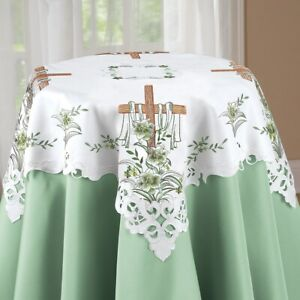 Embroidered Easter Lily and The Lords Cross Polyester Square Tablecloth