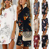 Women Floral Printed Long Tops Blouse Summer Beach Tunic Dress Plus Size 6-22