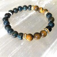 mm Natural Tigers Eye Bracelet Round Stone Bead Hawk Eye Healing Gemstone Men