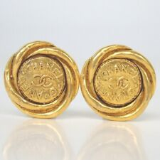 Authentic CHANEL CC mark round type Earring plating[Used]