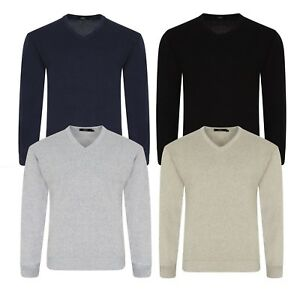 Mens Plain Knitted V Neck Jumper Soft Cotton Knitwear Warm Pull Over Top Sweater