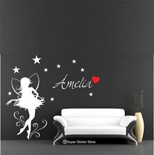 Fairy Wall Sticker Personalise Name for Girls Bedroom Art Vinyl  Decal Removable