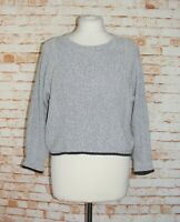 Topshop crop jumper size 8 3/4 batwing sleeves chunky knit oversize light grey